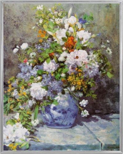 Pierre Auguste Renoir Poster Kunstdruck und Kunststoff-Rahmen - Große Vase Mit Blumen, 1866 (50 x 40cm)