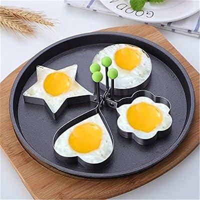 GXY - Lot de 5 Moule à Oeuf au plat en acier inoxydable et Anti-adhésif Modèle créatif d'omelette pour cuisine pour la famille et l'enfant
