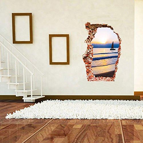 Weaeo 3D-Wand Wand Aufkleber Meer Boot Sonnenuntergang Landschaft Home Dekoration Wohnzimmer Hintergrund Kunst Gebrochen Öffnung Der Tür Aufkleber