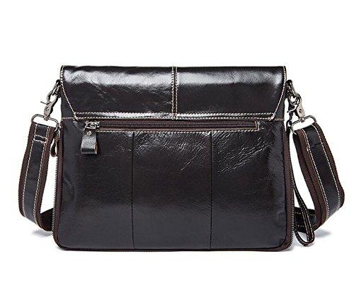 Borsa A Tracolla Borsa Business In Pelle Uomo A Fogli Mobili Messenger Bag Sezione Valigetta Black
