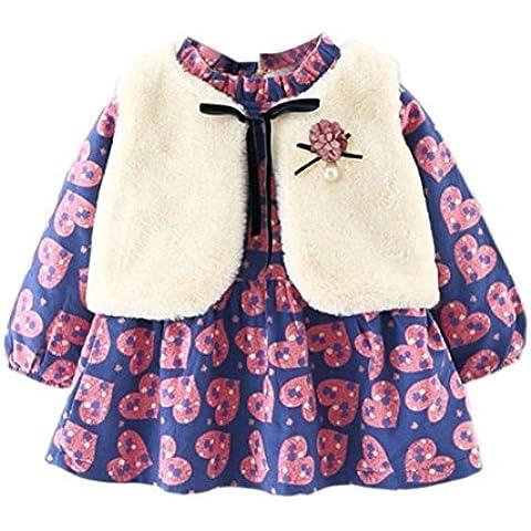 Tefamore Vestido Niñas de Chaleco + Conjunto de Ropa de Abrigo Grueso Vestido floral