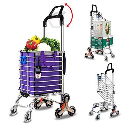 Acyon Großer Kapazität Einkaufstrolley, Leichter Aluminium Einkaufswagen, Langlebiger & Faltbarer Wagen mit 360 °Drehbaren Vorderrädern und Treppe Klettern Räder,bis 50kg Belastbar,Lila