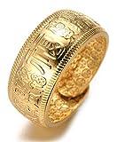 Halukakah Oro Bendiga Todo Hombres Anillo Chapado en 18K Oro Real Suerte Tamaño Ajustable con CajaDeRegaloGRATIS