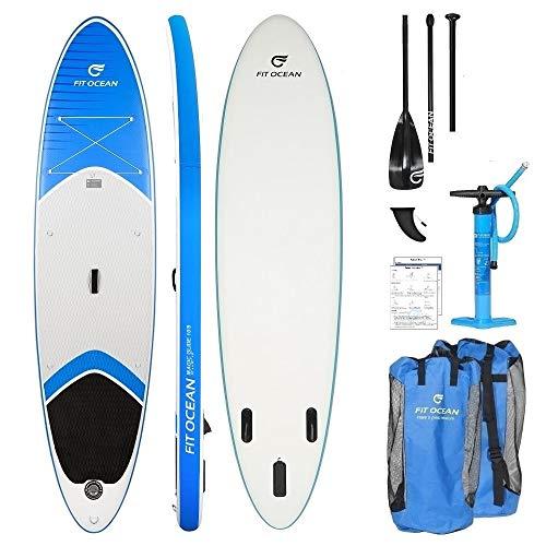 FIT OCEAN aufblasbares Stand Up Paddle Board Sets. EINFACHER PADDELN Lernen: SICHERES Stehen UND SUPER AUFTRIEB. Doppelhub-Pumpe + leichtes Paddel + Grosse Tragetasche