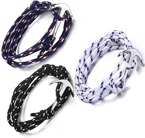 Vnox 3 Stück Edelstahl Leder Seil Boot Anker einstellbare Wrap Armband für Männer - Anker-seil-armband Männer