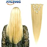 ATOZWIG@Blonde Color Clip In Human Hair ...