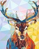YEESAM ART Malen nach Zahlen - Deer Hirsch Geweih Kopf Diamant 16 * 20 Zoll Leinen Segeltuch