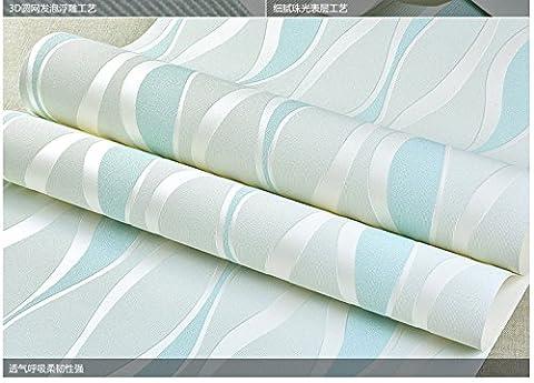 BABYQUEEN Tapete 0.53*10m Wallpaper Moderne Wellenförmige Streifen Vlies Tapete 3 Schlafzimmer Tv Tapete Bett Für Kinder Wohnzimmer Wand Papier Hell blau