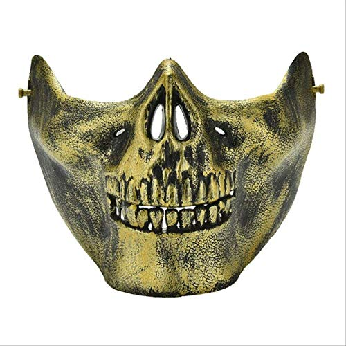 NIJY Minch beängstigend Maske Halloween Schädel Skelett Maske Kostüm halbes Gesicht Masken für Party Cospaly Gold