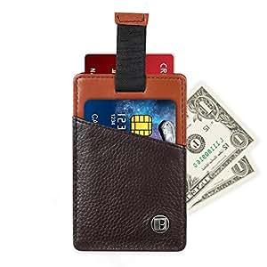 Benuo RFID Porte-cartes en Cuir avec Cordon à Tirer Porte-cartes de Crédit Porte-cartes d'identité 11,5*7,5 cm[Mode Cordon, Brun]