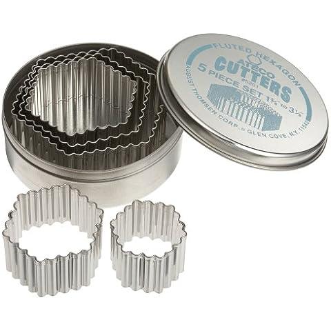 Ateco-Set di stampi per pasticceria in acciaio inossidabile, design scanalato