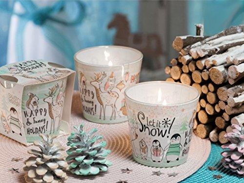 MERRY & BRIGHT CHRISTMAS Weihnachtskerzen Deko Duftkerze im Glas in verschiedenen Duftvarianten, Brenndauer: 30h (Snow Flakes)