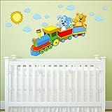 Zug Spielzeug Sonne Wolken Wandtattoo Kinderzimmer Wandtattoo Aufkleber Kinder, mehrfarbige Kunst 201