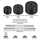 JLL 20kg Cast Iron Dumbbell/Barbell Set 2018, 4 x 0.5kg, 4 x 1.25kg and 4 x 2.5kg weight plates, 4x spin-lock collars, hammer tone look, resilient and long lasting training equipment
