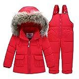 Winter Kind -Baby-jungen Oberbekleidung Pelz Snowsuits Jacke + Overalls Hosen Normallack-Fluff-Ski-Klagen (4T(100cm), Rot)
