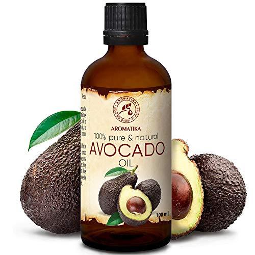 Avocadoöl 100ml - Kaltgepresst & Raffiniert - 100% Reines - Glasflasche - Avocado Öl - Intensive Pflege für Gesicht - Körper - Haare - Massage - Körperpflege Öl Avocado