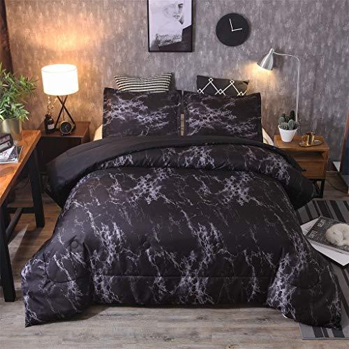 Bettwäsche 200 X 200Cm 3 Teilig,WQIANGHZI Hochwertige Bettbezug,Stoff Sehr Angenehm Damast,Anthrazit Bettwäsche-Set Marmor Muster 1 x Bettbezug+2 x Kissenbezug -