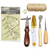 lzn 7 Stück Leder Werkzeug Leder Handnähen Kit Handgeräte Nähenset Thread Ahle Gewachst Fingerhut