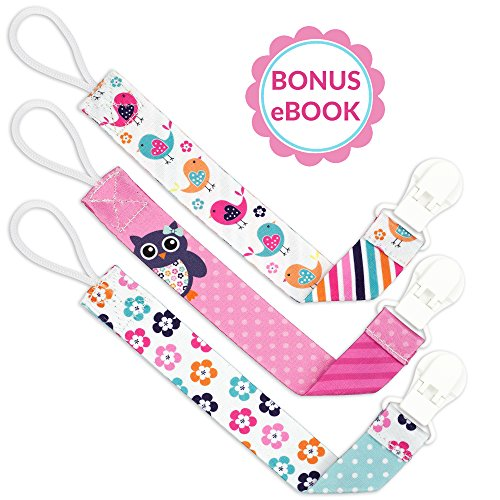 Liname® Dummy Clip for Girls with Bonus eBook - 3 Pack Gift Packaging - Premium Quality & Unique Design - Dummy Clips Fit All Dummies & Soothers - Perfect Baby Gift