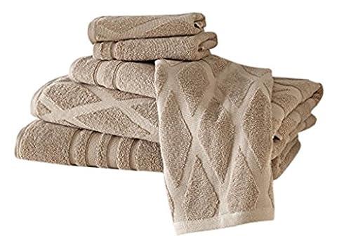 Pacific Coast Textiles Superior Combed Diamond Standard Jacquard Towel Set, Cotton, Taupe , Single Size,
