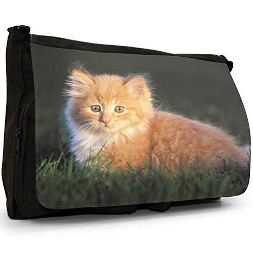 Gattini Nero Grande borsa scuola nero Cats Fluffy Haired Kitten Sat in Green Grass Field