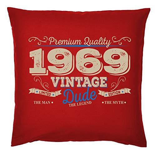 Mega-Shirt zum 50. Geburtstag Geschenkidee Kissen mit Füllung 1969 Vintage Dude Polster zum 50 Geburtstag für 50-jährige Dekokissen