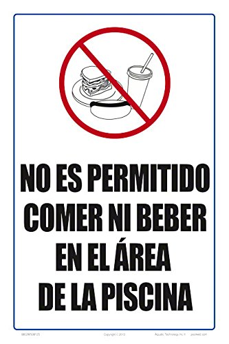 Getränke Spanisch Schild (20,3x 30,5cm) auf weiß Styrol Kunststoff ()
