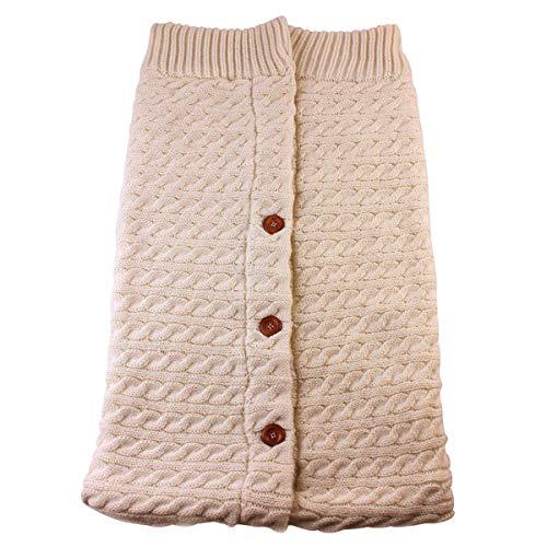 Newborn Baby Swaddle Blanket, Thick Warm Strollers Knit Blanket Plus Velvet, Baby Kid Toddler Fleece Sleeping Bag Sleep Sack Stroller Warp for Baby Gril or Boy (Beige)