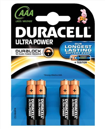 Duracell Ultra Power MX2400 Battery Alkaline 1.5V AAA Ref 81235511 [Pack 4] -