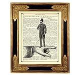 Herr auf Hand Shabby Chic Poster Kunstdruck auf viktorianischer Buchseite Steampunk Mann Geschenk Bild ungerahmt