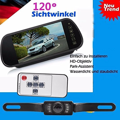 "LESHP Auto Rückfahrsystem Einparkhilfe Set 7"" Zoll TFT LCD Rückspiegel Monitor Nachtsicht mit Rückfahrkamera"