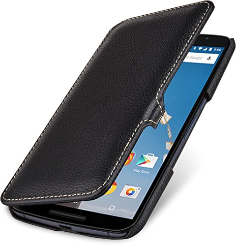 StilGut Book Type Case mit Clip - ohne Magnet -, Hülle aus Leder für Google Nexus 6 und Motorola Nexus 6, schwarz
