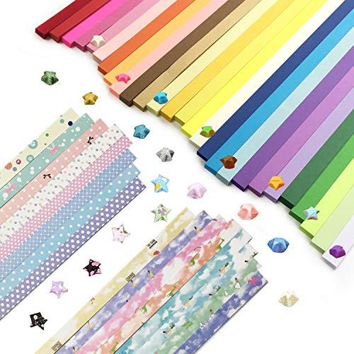 Wartoon Origami Sterne Papier doppelseitig und Sternenhimmel Stern Papier Set, 3 Styles, 43 Farben, 2150 Streifen