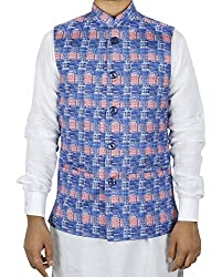 LaRainbow Mens Printed Bandhgala Modi Check Jacket-Blue (42)