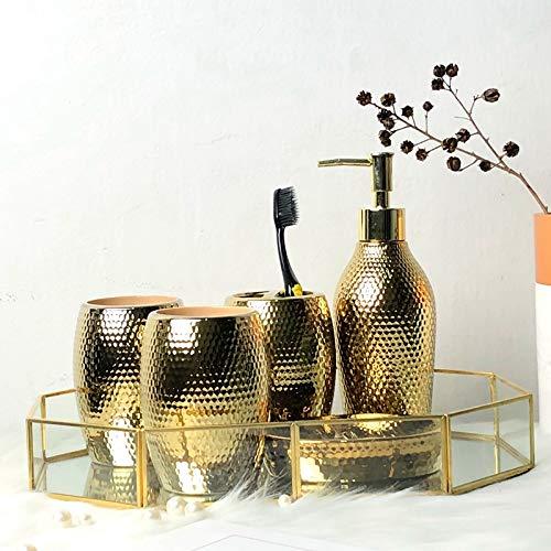 Amgend Amerikanischen Nordischen Luxus Vergoldet Gold Kit Waschen Bad Set Fünf Stück Lotion Flasche Zahnbürste Tasse Seifenschale, Luxus-Bad-Set Von 5 + Achteckigen Tablett - Kit-gold Plated