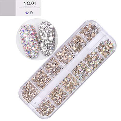 3D Strass à Ongles Art Décorations, Taille Mélange Briller Pierre Cristaux Acrylique Diamants Manucure pour Nail Art Professionelles Fournitures - 1 Boîte #054