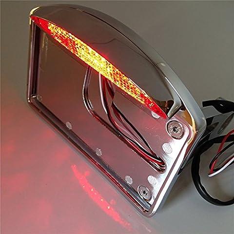 Htt Moto Chrome latérales support support de plaque d'immatriculation W/LED Feu arrière de frein lumière 2,5cm essieux pour Harley Suzuki Honda Kawasaki Yamaha Croiseurs
