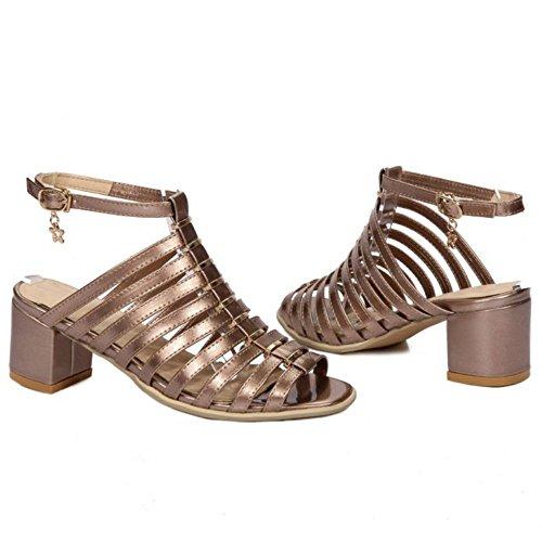COOLCEPT Femme Rome Creux Sangle Sandales Talon Bloc Peep Toe Chaussures Kaki