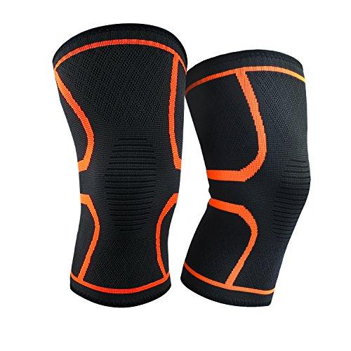 [Knieschoner] BESTOPE2pc Kniehülse Kompression Elastische Verstellbare Kniebandage Anti-Rutsch Atmungsaktiver Knieschützer Arthritis und Verletzung Wiederaufnahme beim Sport und im Alltag für Damen und Herren (Groß)