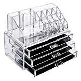 BlushBees® Acrylic Cosmetic Makeup Organizer with 3 Drawer Storage, 1 Piece, Transparent