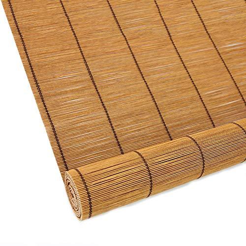 Tende a rullo tenda a rullo in bambù, tende avvolgibili in bambù per finestre, tende filtranti leggere tende avvolgibili - con mantovane (colore : giallo, dimensioni : 120×140cm)