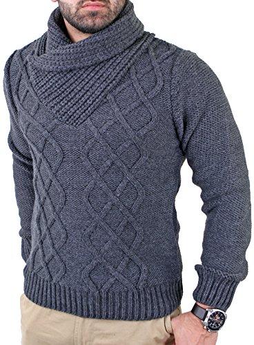 Reslad Herren Schalkragen Strickpullover Winter Pullover RS-3211 Anthrazit