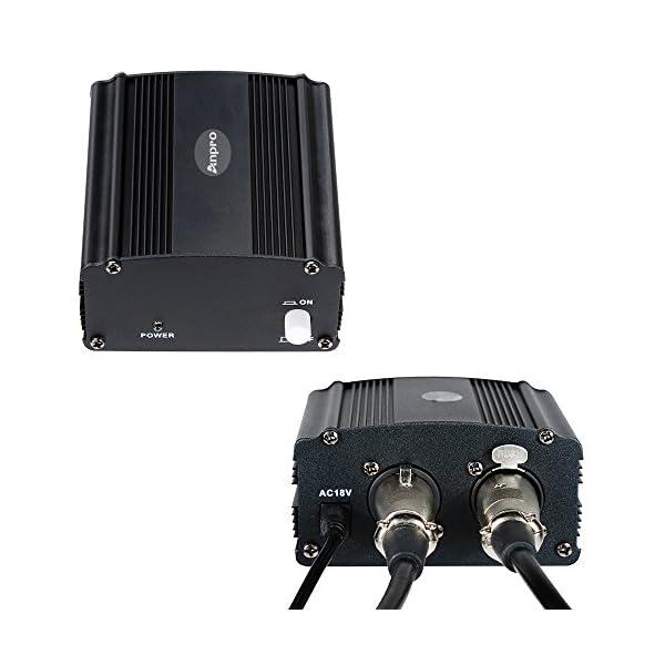 Anpro 48V Alimentazione Phantom con Adattatore e Cavo per qualsiasi Microfono a Condensatore e Apparecchio di Registrazione musicale