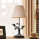 H&M Retro lampada da tavolo lampada da comodino American Village Style Iron Birdie Decorazione Creative tessuto Lampada da tavolo ombra con pulsante interruttore per camera da letto Soggiorno Illuminazione interna