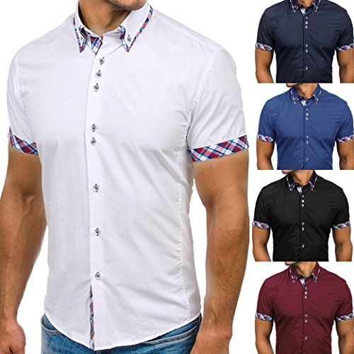 b39508523 ... ESAILQ Mens Blouse,Summer Double Collar Slim Patchwork Short Sleeved T-shirt  Tops polo