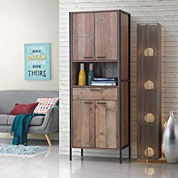 Timber Art Design Stretton Tall Storage Kitchen Pantry Sideboard Cabinet Rustic Industrial Oak