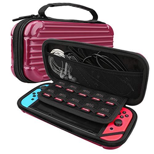 AFAITH Reise-Tragetasche für Nintendo Switch, tragbare Shell Pouch Case Glas-Displayschutz Anti-Scratch Travel Storage - Rot