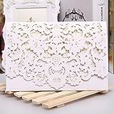 PONATIA 25 pcs lujo cortados con l¨¢ser invitaciones tarjetas Kits Flora invitaci¨®n cartulina paquetes con sobre y juntas adhesivas para boda fiesta