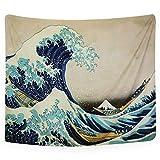 BAIVIT Wandteppich Lanyard Kanagawa Big Wave Tapestry Surfen Ukiyo-E Japanischen Stil Wohnzimmer Hängetuch,150X200cm
