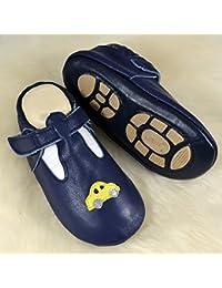 Liya's - Zapatillas de estar por casa de Piel para niño Negro negro, color Negro, talla 32
